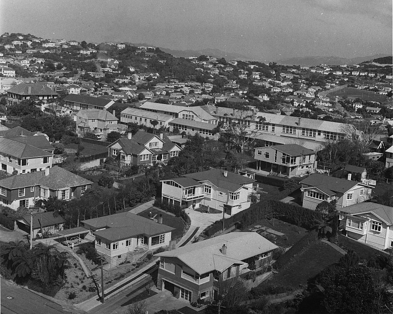 Khandallah School from Gorsey knob 1968 - click on image for larger picture